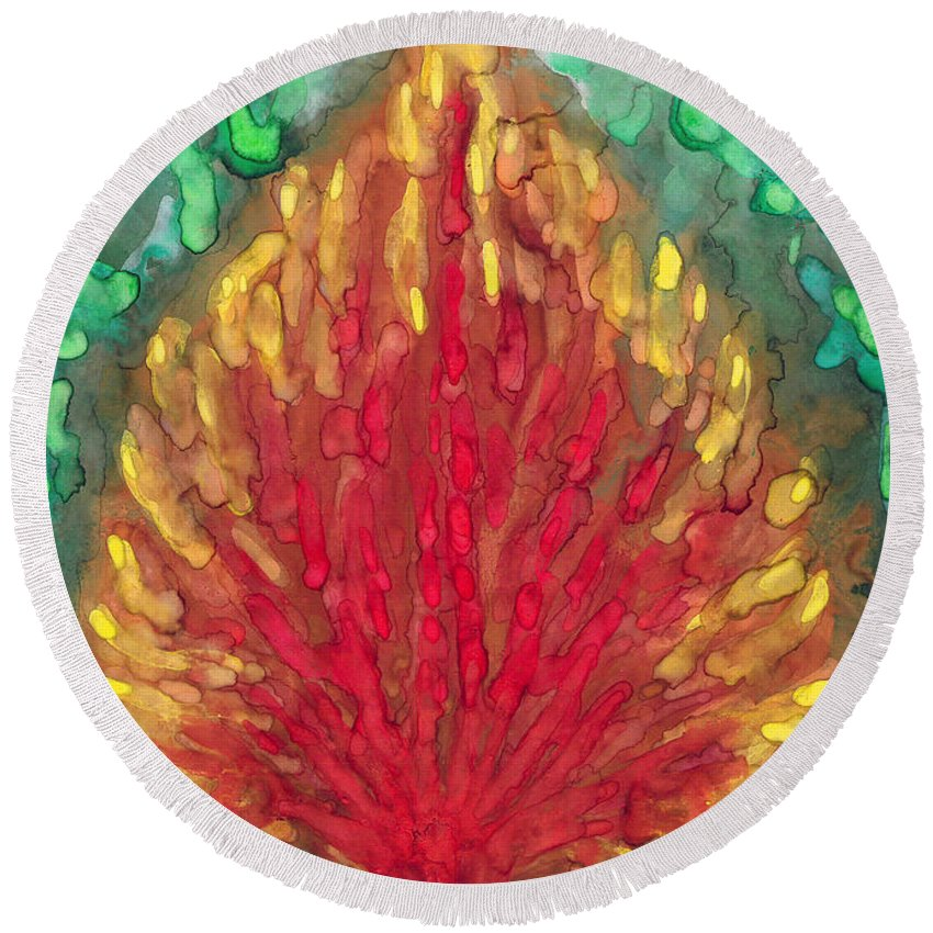 Colour Round Beach Towel featuring the painting Flame by Wojtek Kowalski