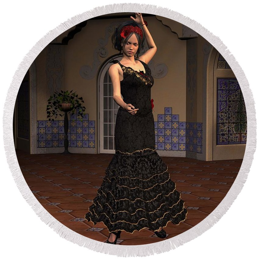 Flamenco Round Beach Towel featuring the digital art Flamenco Dancer by John Junek