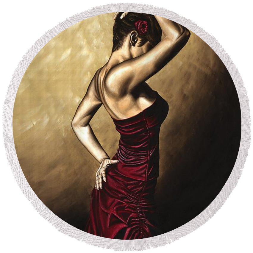Flamenco Round Beach Towel featuring the painting Flamenco Woman by Richard Young
