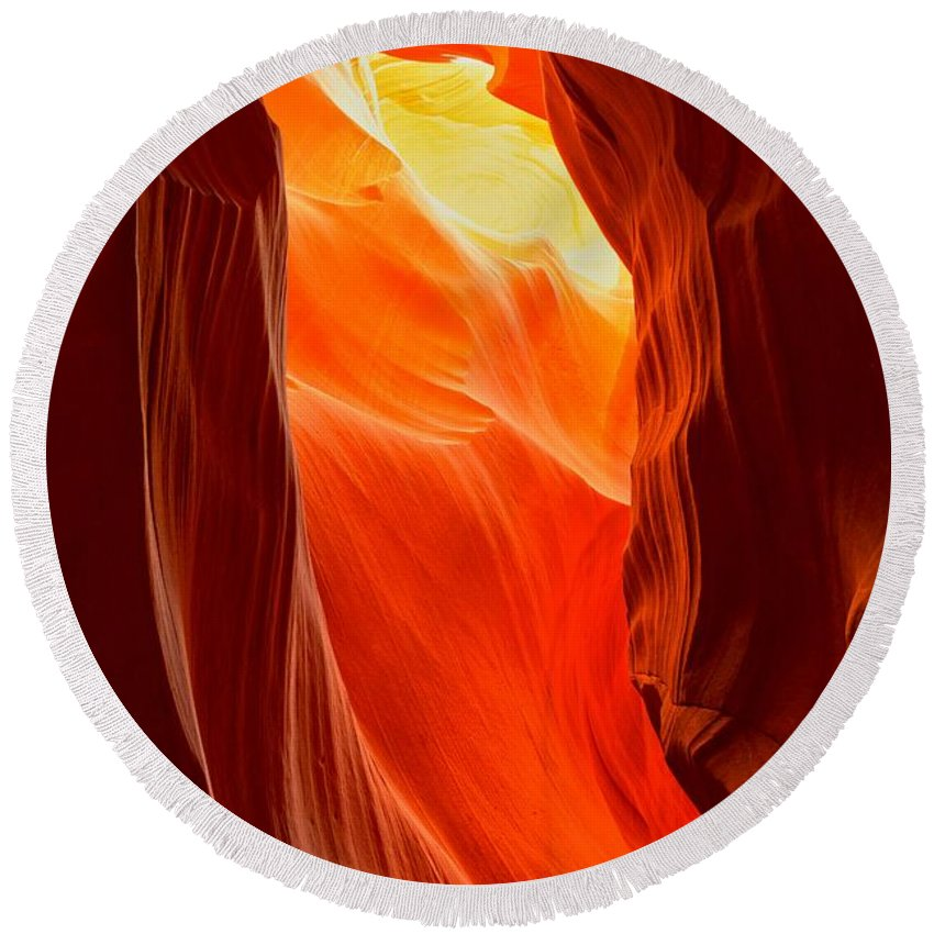 Upper Antelop Round Beach Towel featuring the photograph Flames At Upper Antelope by Adam Jewell