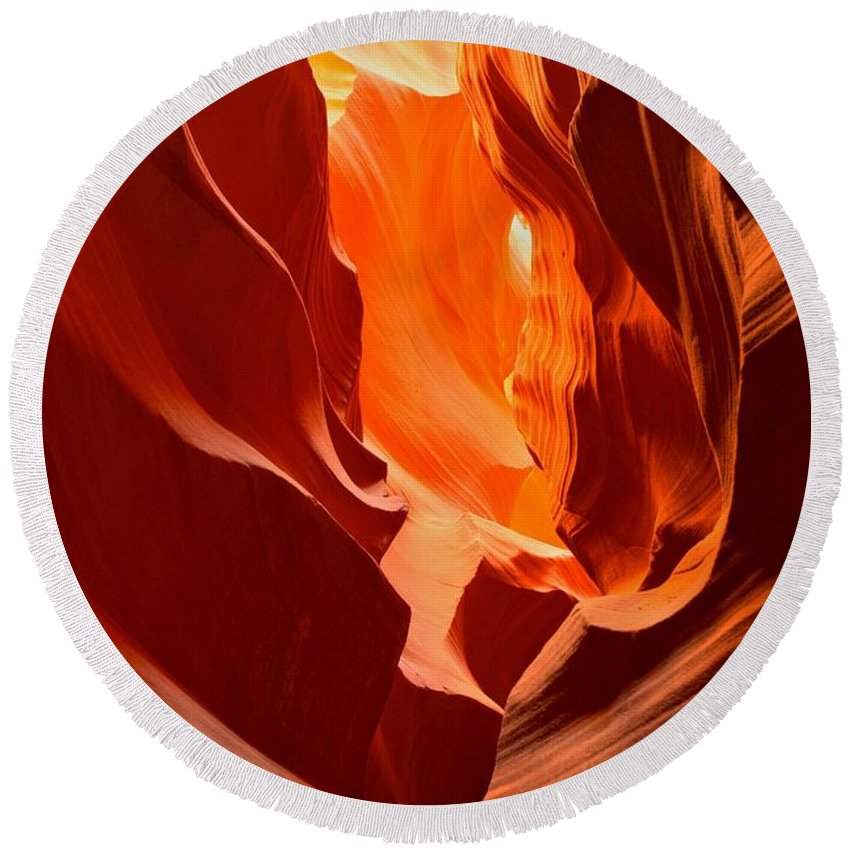 Antelope Canyon Round Beach Towel featuring the photograph Flames In The Walls Of Antelope by Adam Jewell