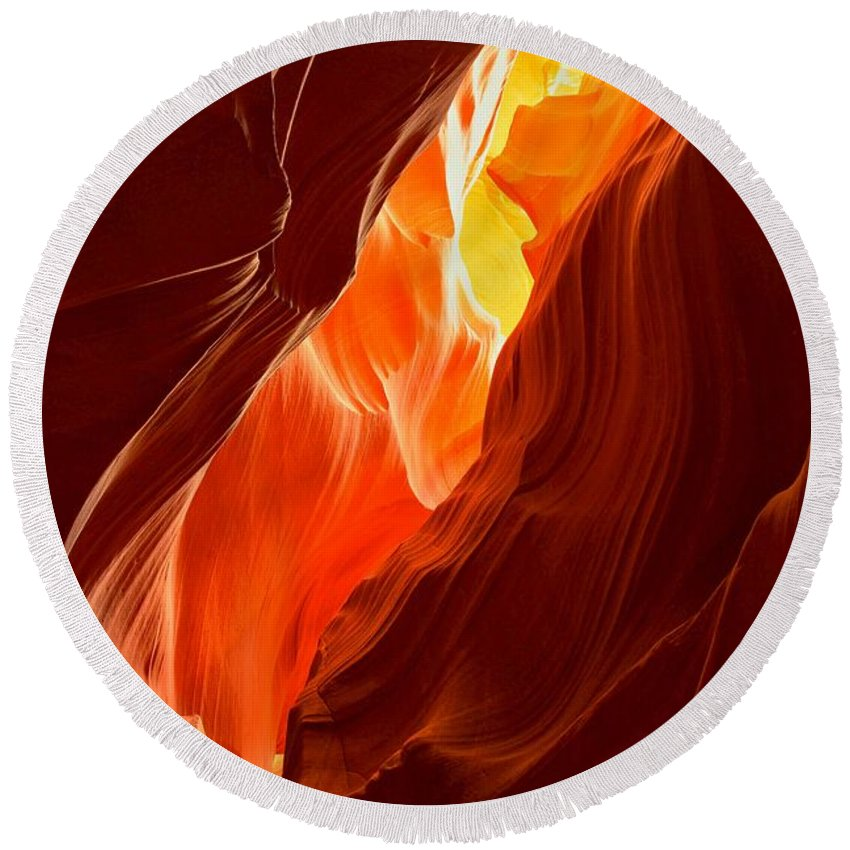 Upper Antelop Round Beach Towel featuring the photograph Flames Under Arizona by Adam Jewell