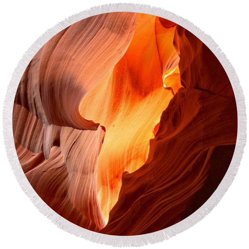 Arizona Desert Round Beach Towel featuring the photograph Flames Under The Arizona Desert by Adam Jewell