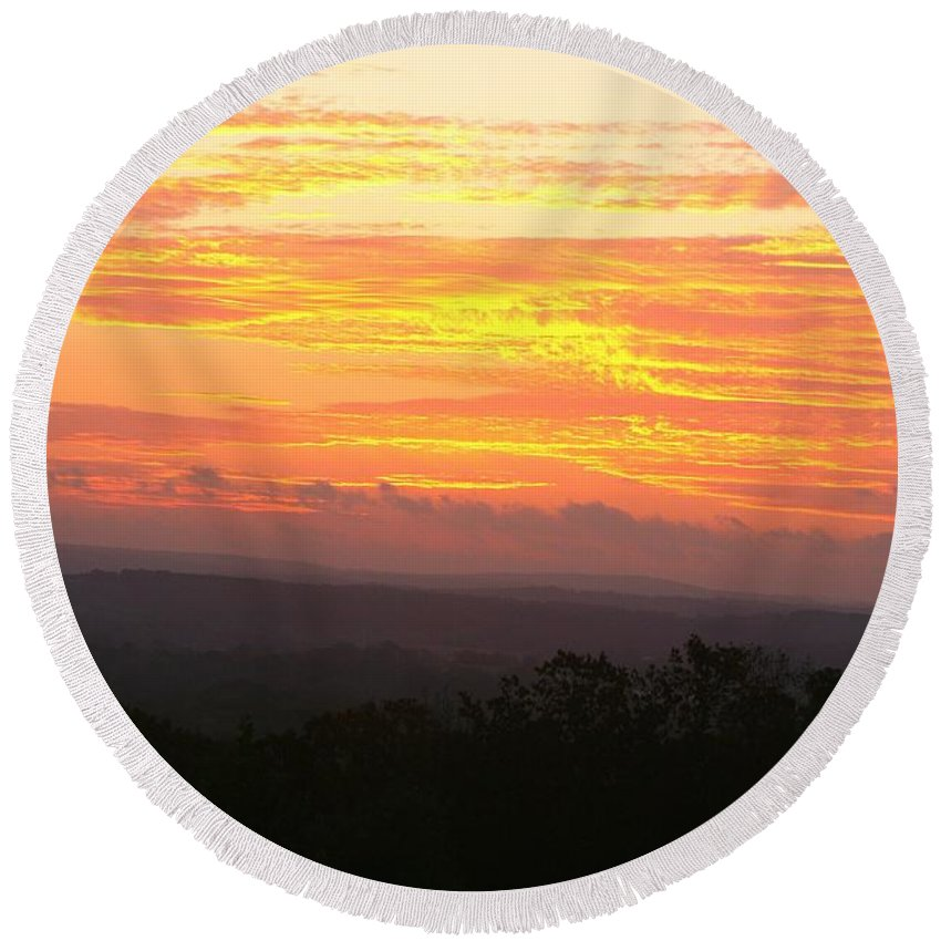 Sunrise Round Beach Towel featuring the photograph Flaming Autumn Sunrise by Nadine Rippelmeyer