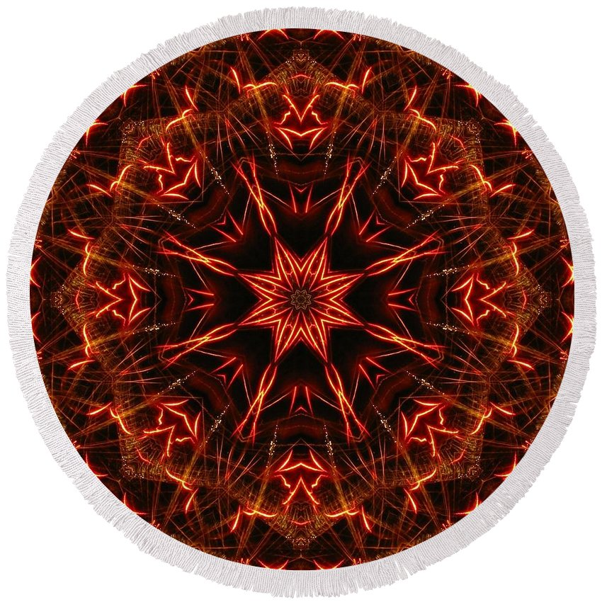 Kaleidoscope Round Beach Towel featuring the photograph Flaming Catherine Wheel by M E Cieplinski