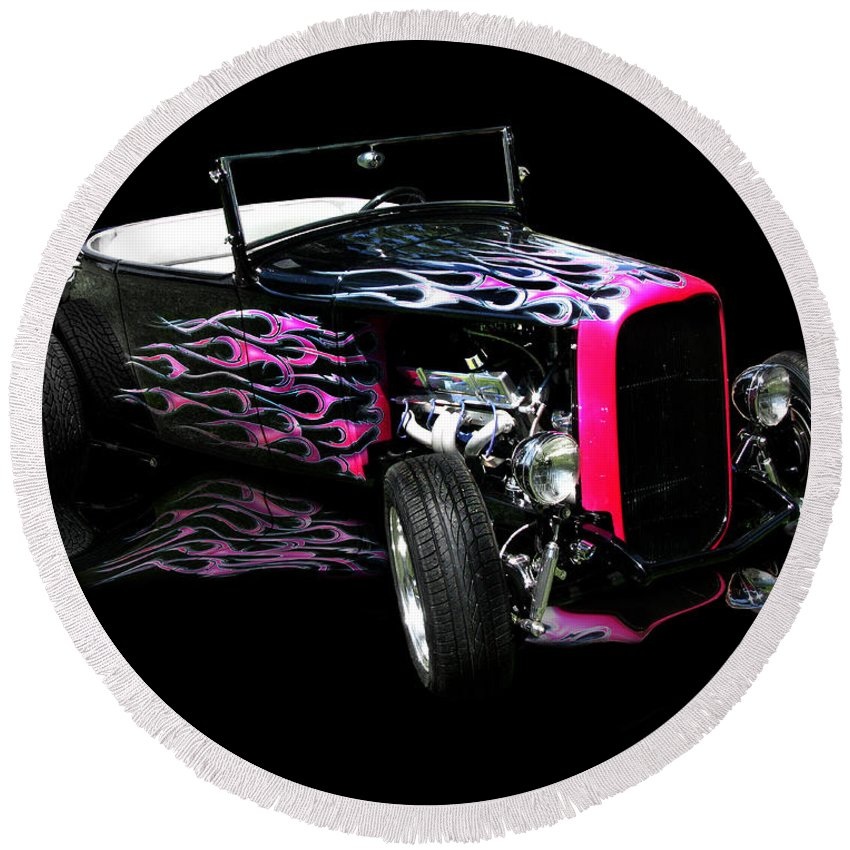 Flaming Hot Roadster Round Beach Towel featuring the photograph Flaming Hot Roadster by Peter Piatt