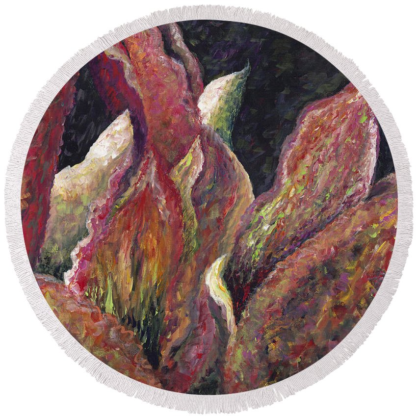 Leaves Round Beach Towel featuring the painting Flaming Leaves by Nadine Rippelmeyer