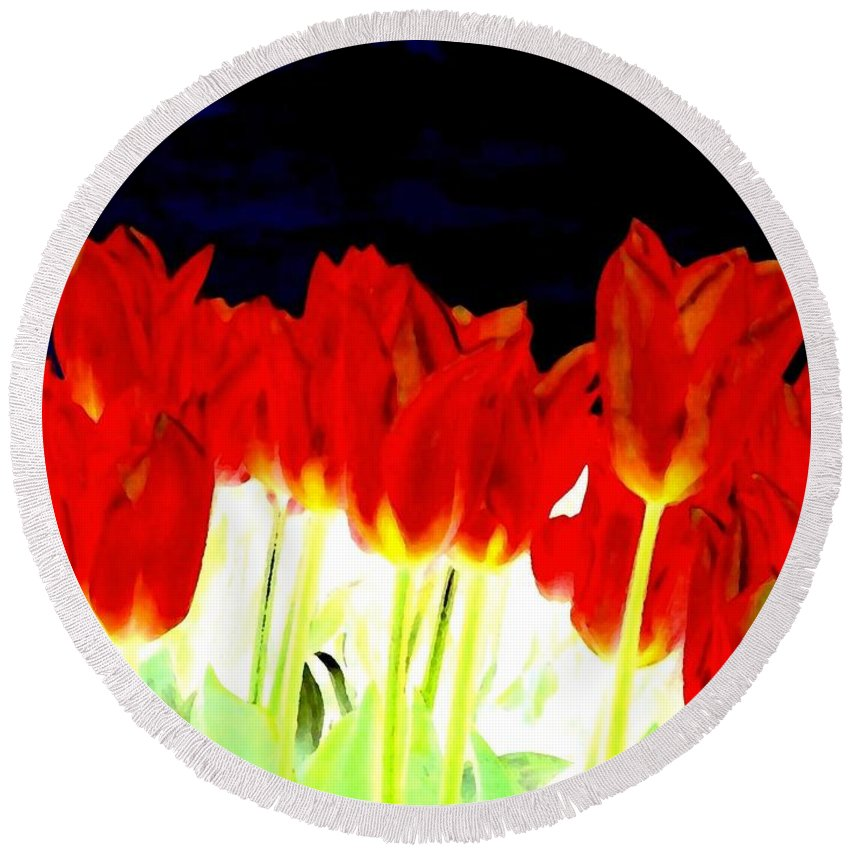 Red Tulips Round Beach Towel featuring the digital art Flaming Red Tulips by Will Borden