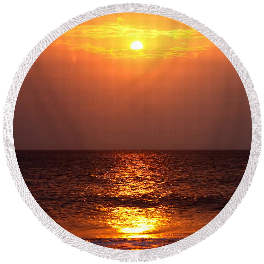 Sunrise Round Beach Towel featuring the photograph Flaming Sunrise by Nadine Rippelmeyer