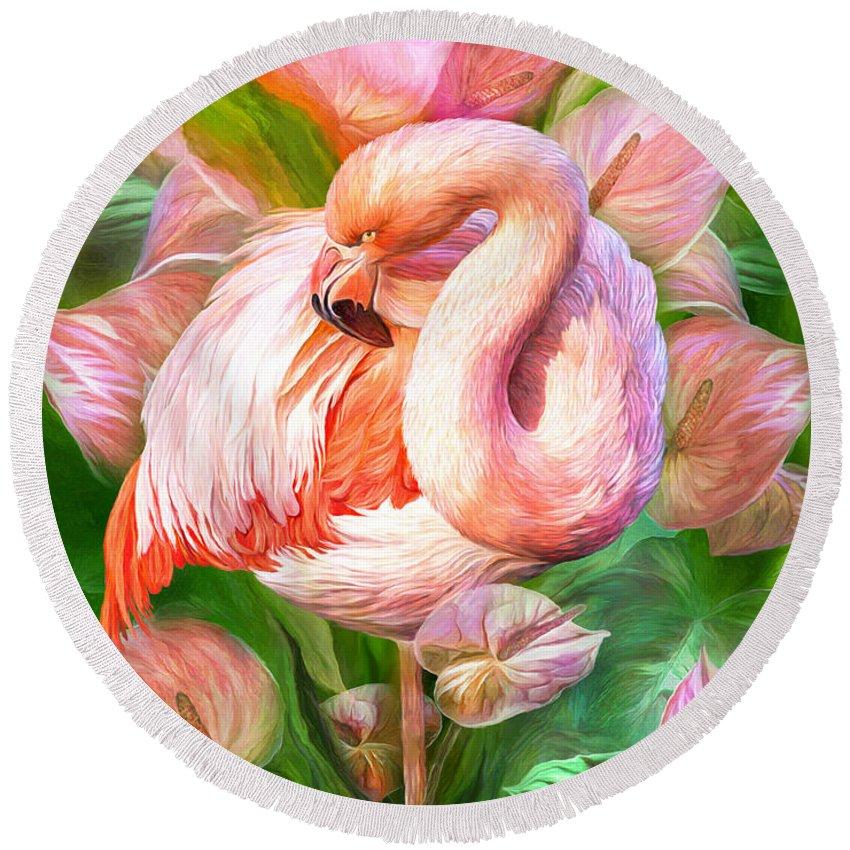 Flamingo Flower Mixed Media Round Beach Towels