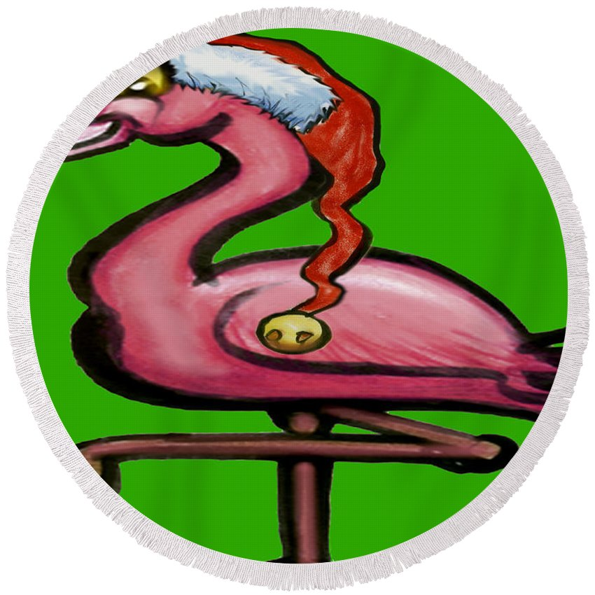 Flamingo Round Beach Towel featuring the greeting card Flamingo Christmas by Kevin Middleton
