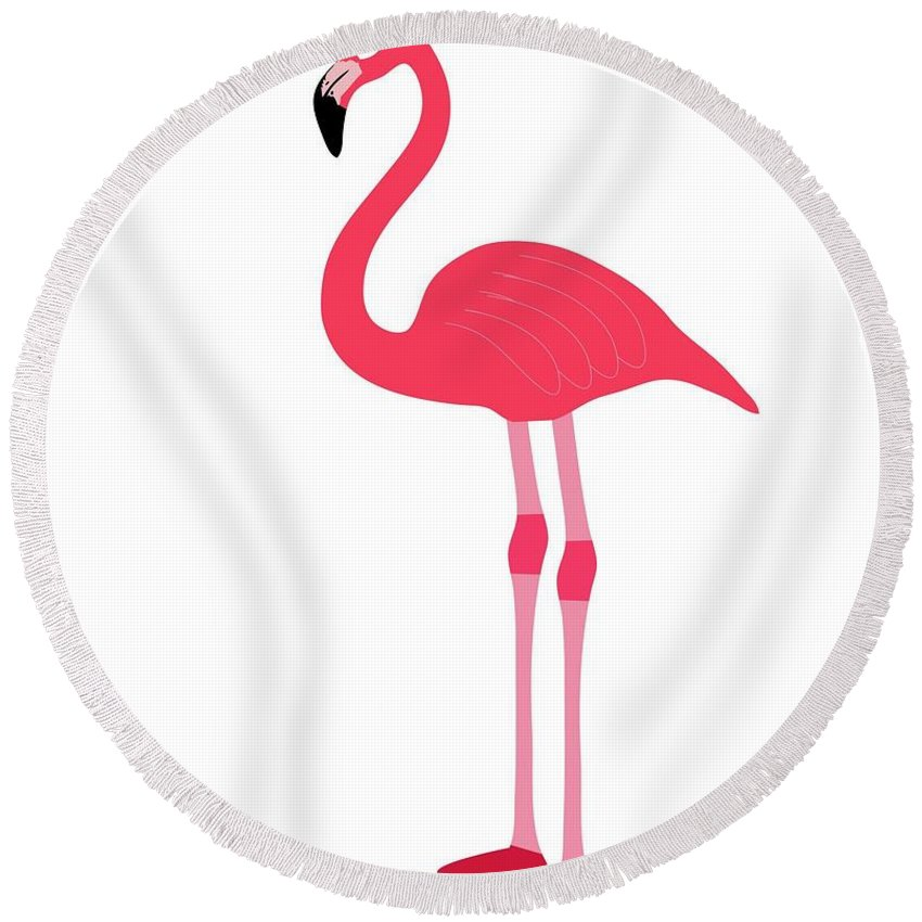 Animal Round Beach Towel featuring the digital art Flamingo by Frederick Holiday