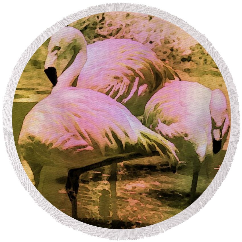 Birds Round Beach Towel featuring the painting Flamingo - Id 16217-202804-4625 by S Lurk