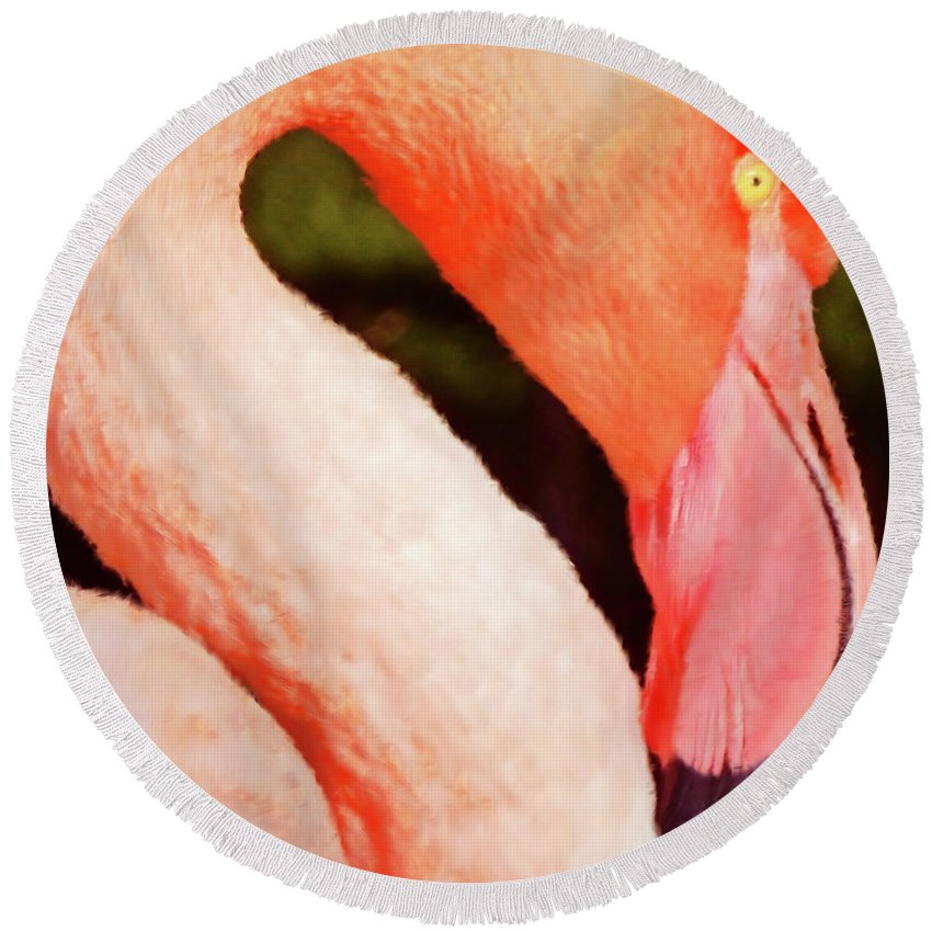Flamingo Round Beach Towel featuring the digital art Flamingo by Methune Hively