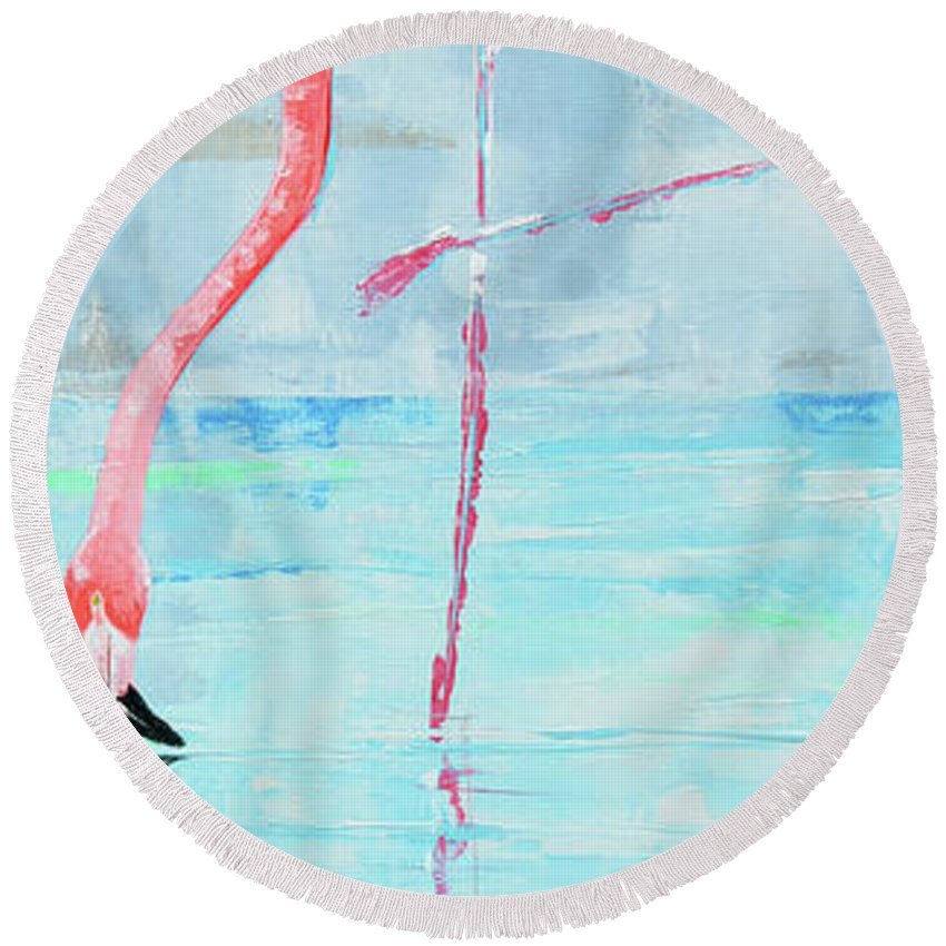 Flamingo Round Beach Towel featuring the painting Flamingo by Paola Correa de Albury