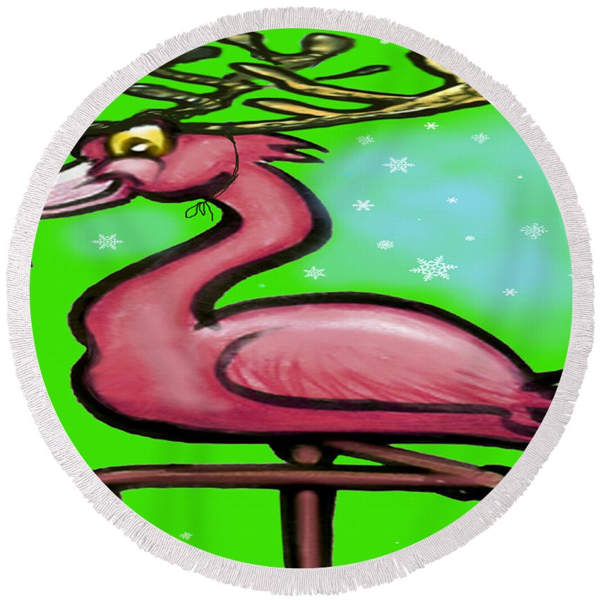 Flamingo Round Beach Towel featuring the painting Flamingo Reindeer by Kevin Middleton