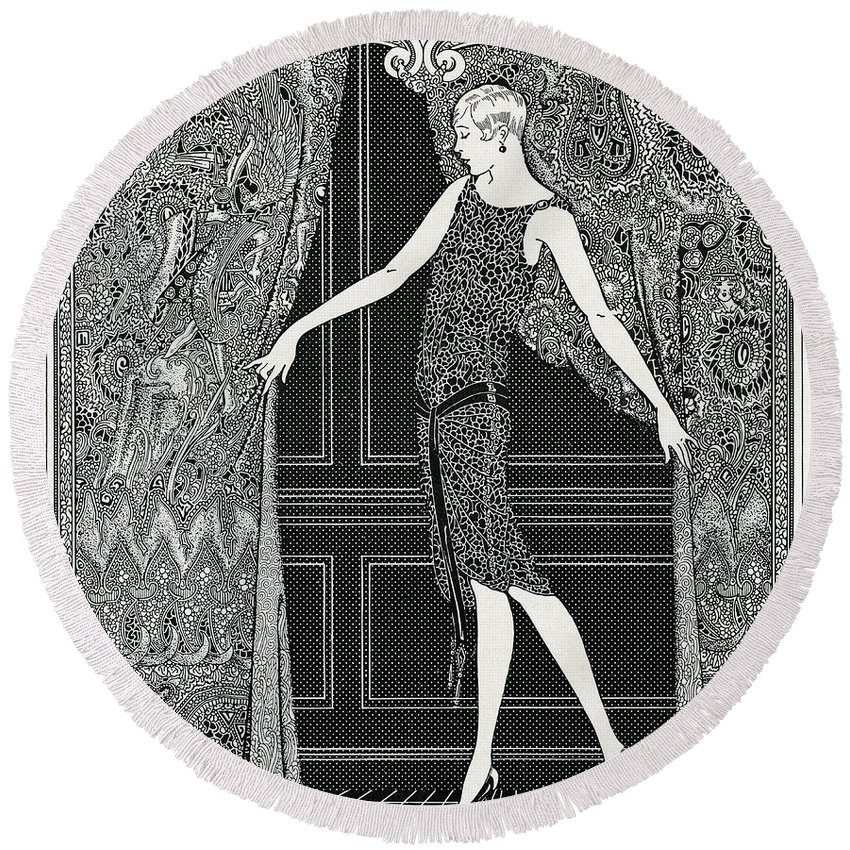 Vintage Round Beach Towel featuring the drawing Flapper Opening A Curtain by American School