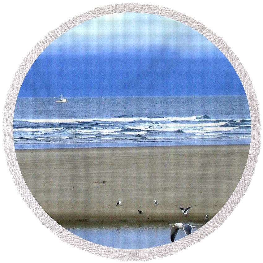 Seagull Round Beach Towel featuring the photograph Flaps Down by Will Borden