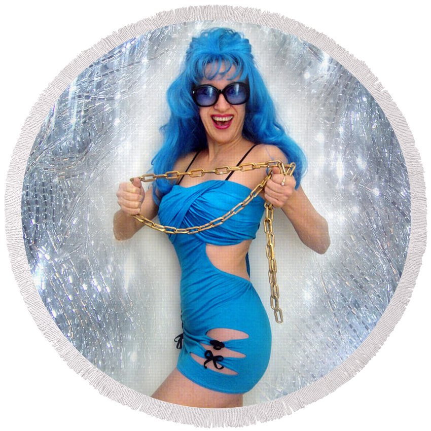 Sofia Round Beach Towel featuring the photograph Flashing. Dance With Gold Chain by Sofia Metal Queen