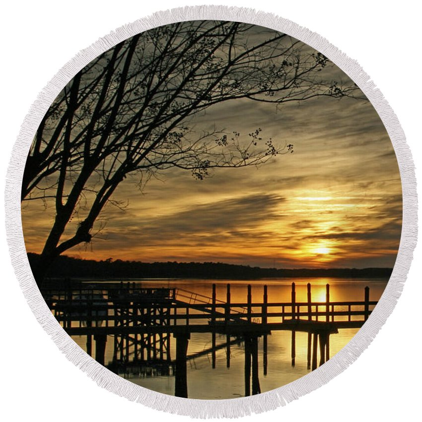 Sunset Round Beach Towel featuring the photograph Flat Water by Phill Doherty