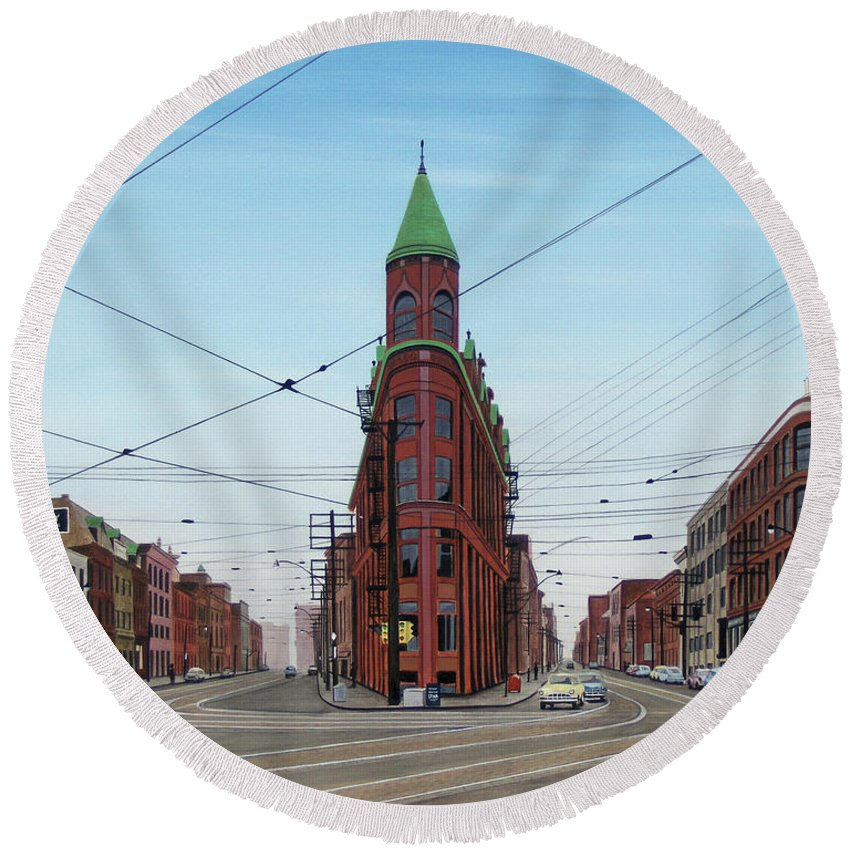 Streetscapes Round Beach Towel featuring the painting Flatiron Building 1955 by Kenneth M Kirsch