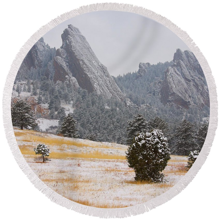 Flatirons Round Beach Towel featuring the photograph Flatiron Meadows - Boulder Colorado by James BO Insogna