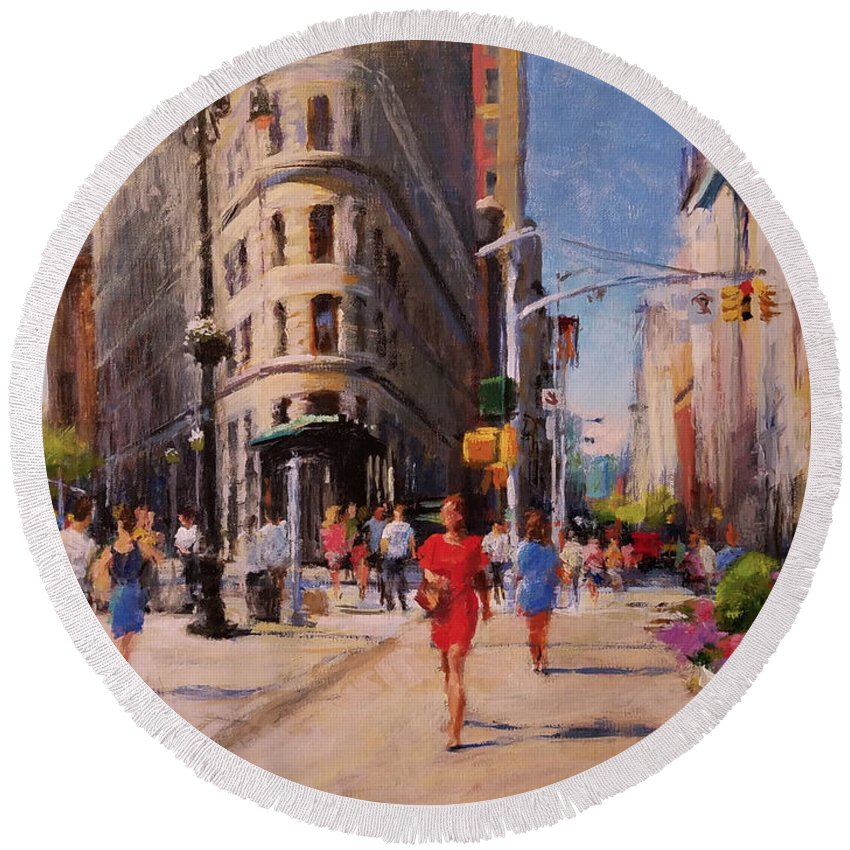 Landscape Round Beach Towel featuring the painting Flatiron Plaza, Summer Morning by Peter Salwen