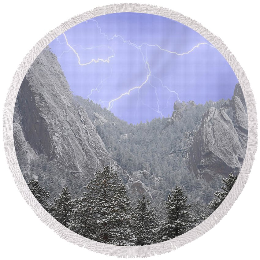 Flatirons Round Beach Towel featuring the photograph Flatirons Lightning by James BO Insogna