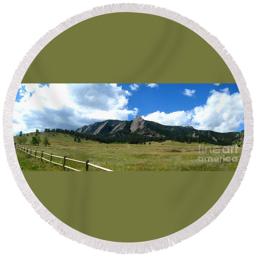 Flatiron Round Beach Towel featuring the photograph Flatirons Panorama by Thomas Marchessault