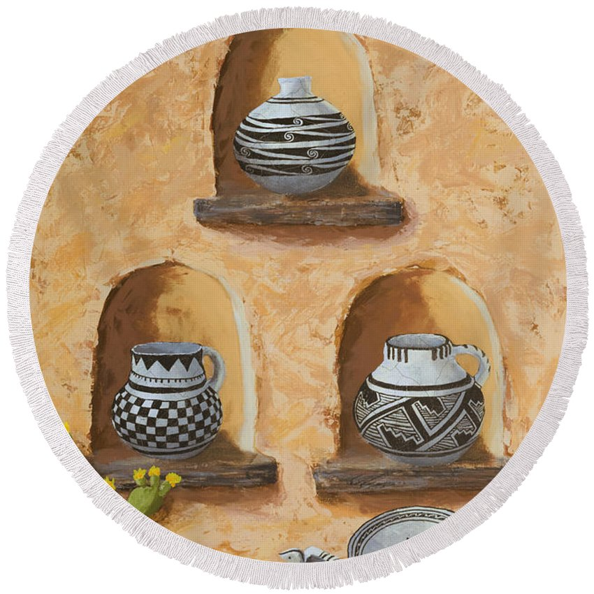 Pottery Round Beach Towel featuring the painting Flavor Of The Soutwest Part 3 by Jerry McElroy