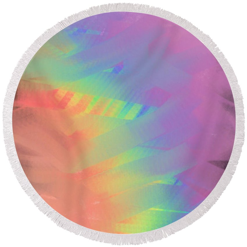 Abstract Round Beach Towel featuring the painting Flavors by Frances Ku