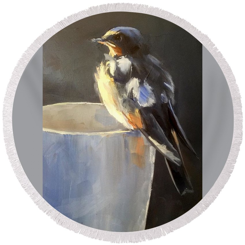 Bird Round Beach Towel featuring the painting Fledgling by Gary Bruton