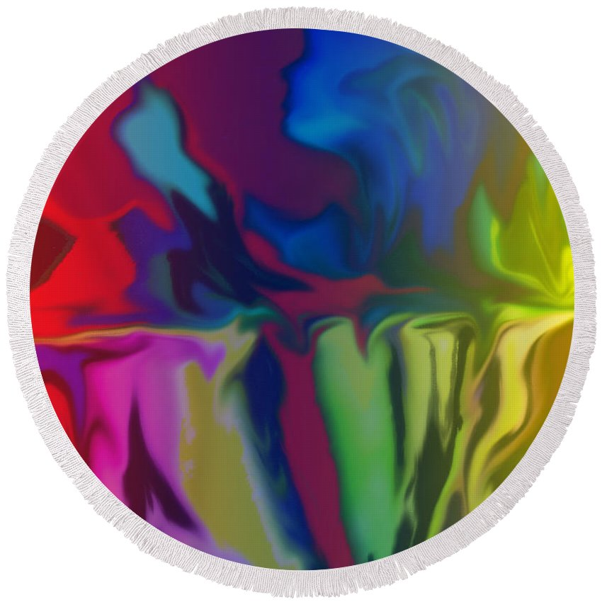 Abstract Round Beach Towel featuring the digital art Fleeting by Ian MacDonald