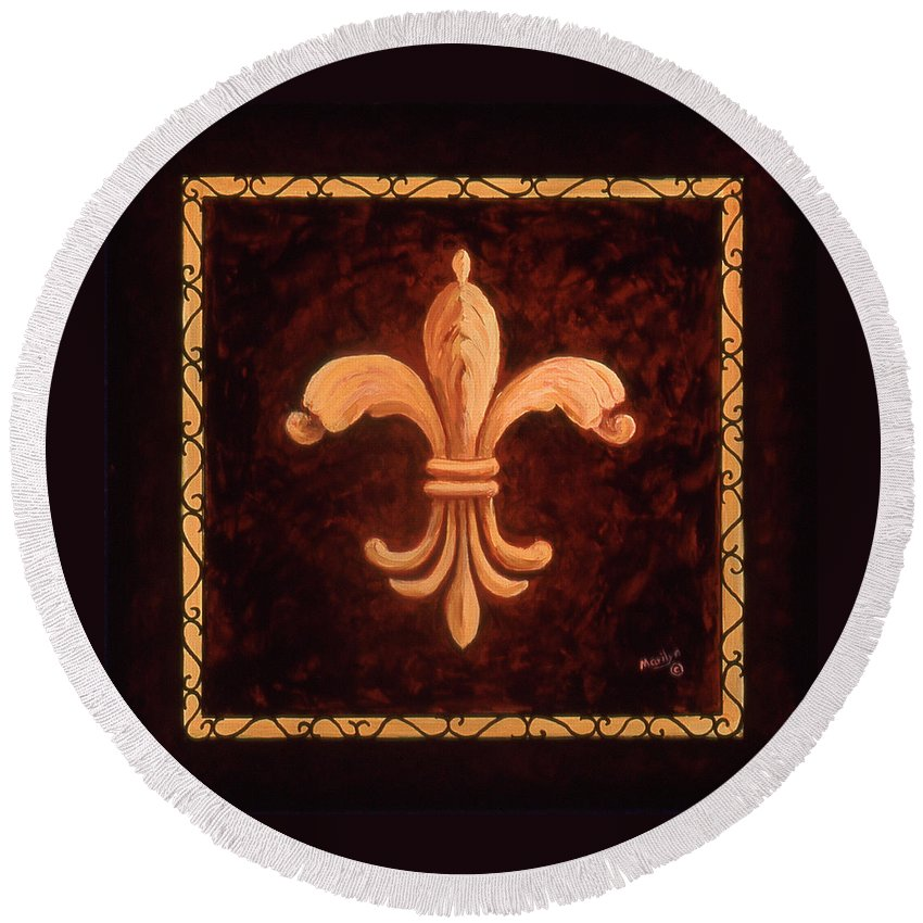 France Round Beach Towel featuring the painting Fleur De Lys-king Charles Vii by Marilyn Dunlap