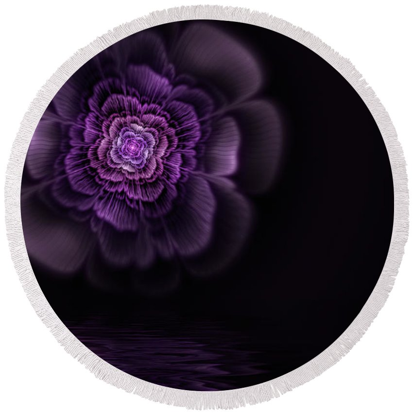 Flame Fractal Round Beach Towel featuring the digital art Fleur by John Edwards