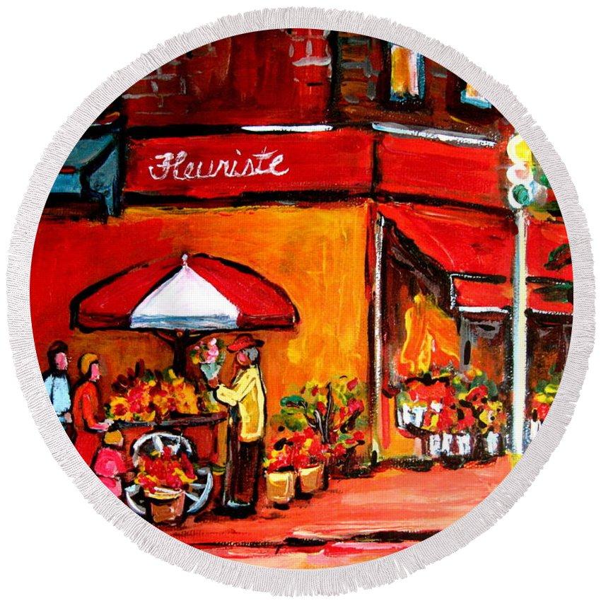 Fleuriste Bernard Florist Montreal Round Beach Towel featuring the painting Fleuriste Bernard Florist Montreal by Carole Spandau