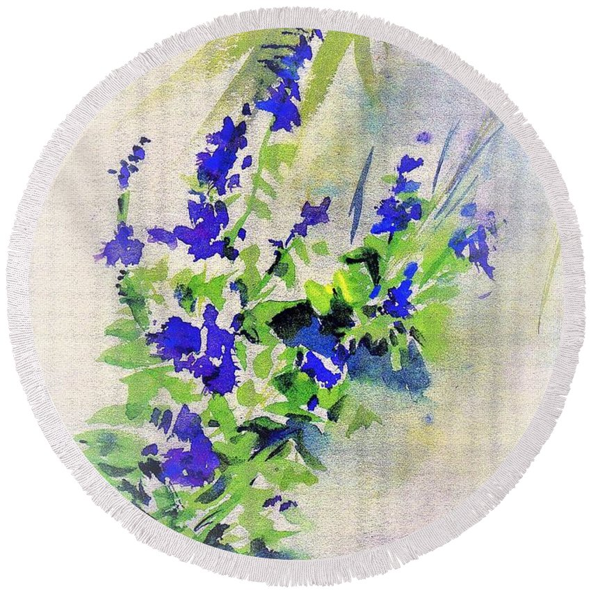 Flowers Round Beach Towel featuring the painting Fleurs by Carliss Prosser