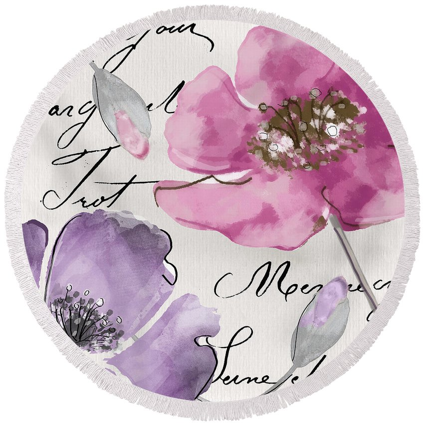 Fleurs De France Round Beach Towel featuring the painting Fleurs De France IIi by Mindy Sommers