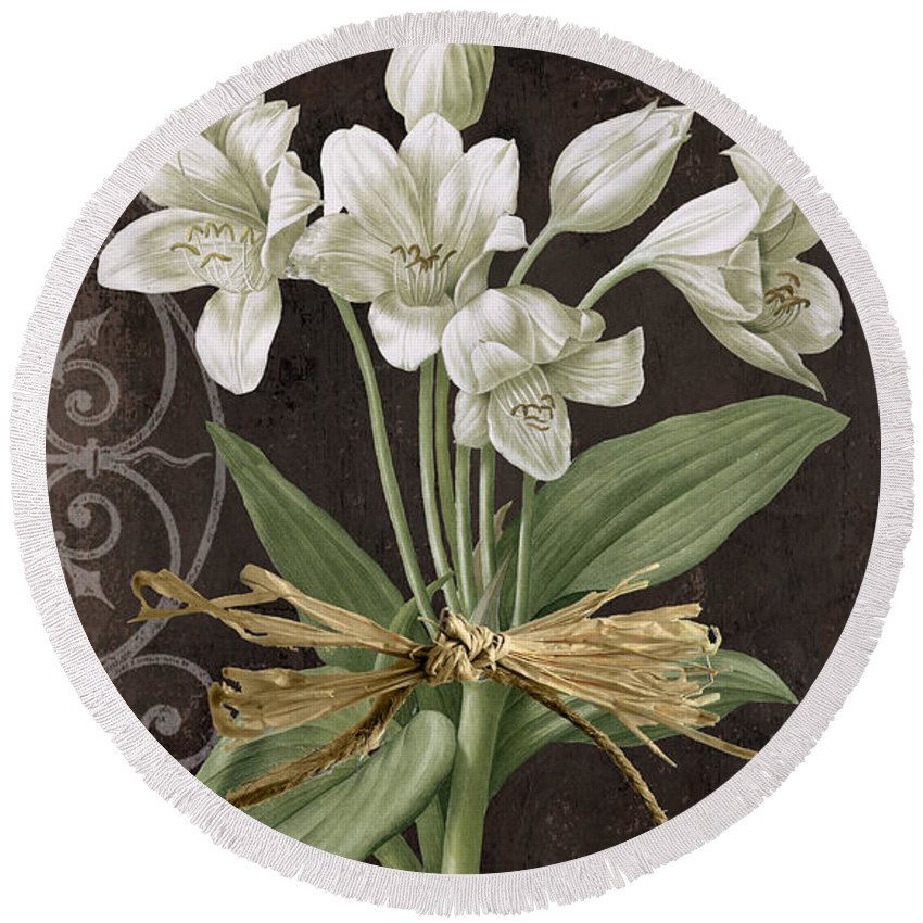 Amaryllis Paintings Round Beach Towels
