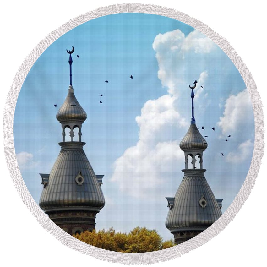 University Of Tampa Round Beach Towel featuring the photograph Flight Over The Crescents by Jost Houk