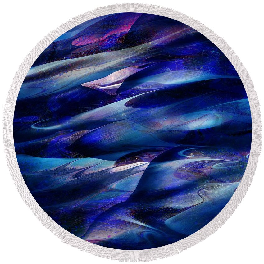 Abstract Round Beach Towel featuring the digital art Flight by William Russell Nowicki