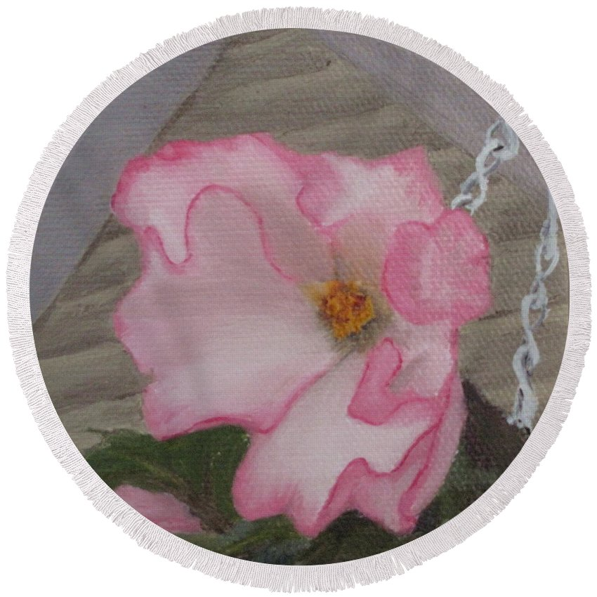 Flower Round Beach Towel featuring the painting Flirty Begonia by Lea Novak