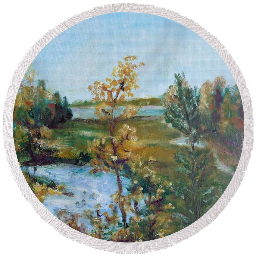 Landscape Round Beach Towel featuring the painting Fll At The Oyster River by Eydie Paterson
