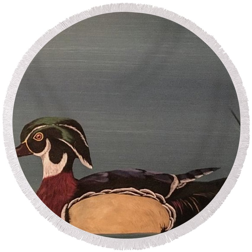 Wood Duck Round Beach Towel featuring the painting Floating Around by Glen Mcclements