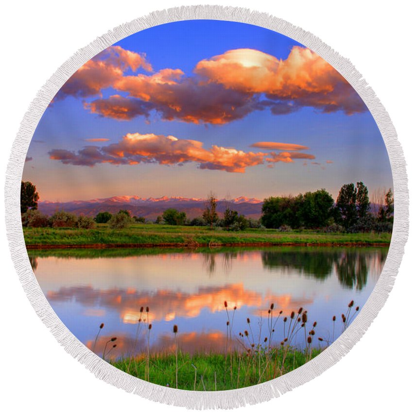 Rocky Mountains Round Beach Towel featuring the photograph Floating Clouds And Reflections by Scott Mahon