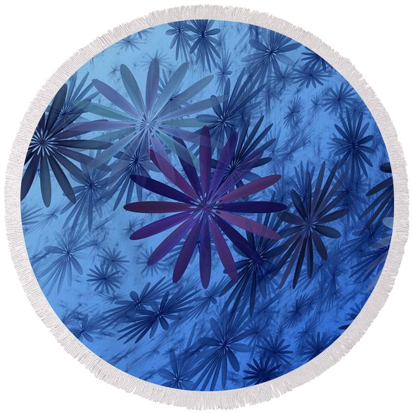 Digital Photography Round Beach Towel featuring the digital art Floating Floral-010 by David Lane