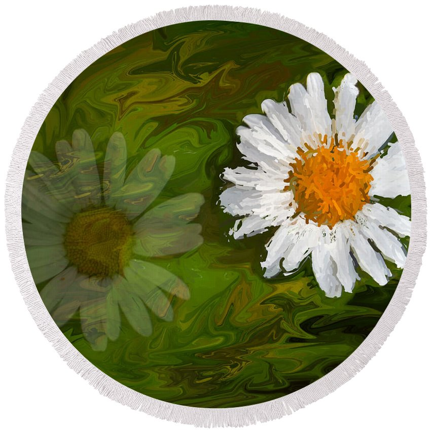 Green Round Beach Towel featuring the photograph Floating Flower Reflection by Chester Wiker