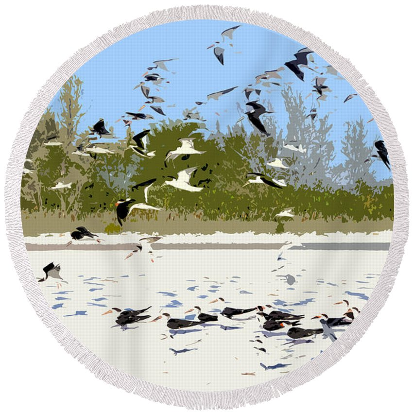 Seagulls Round Beach Towel featuring the painting Flock Of Seagulls by David Lee Thompson