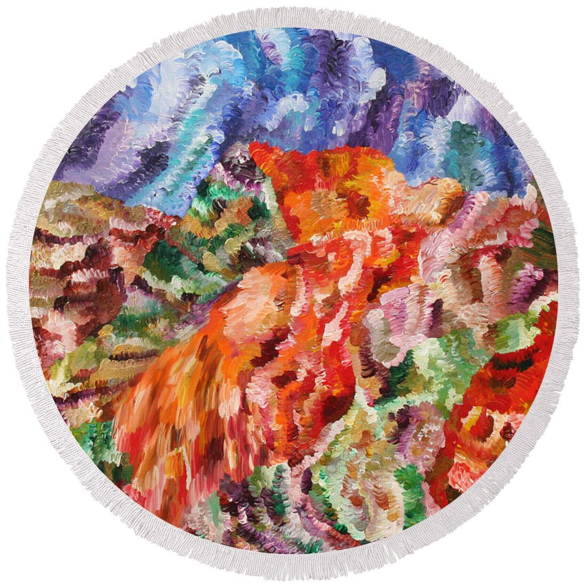 Fusionart Round Beach Towel featuring the painting Flock by Ralph White