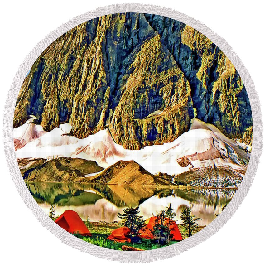 Canadian Rockies Round Beach Towel featuring the photograph Floe Lake Painted by Steve Harrington
